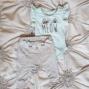 Jessica Simpson Meow Girl's onsie/Pant Set